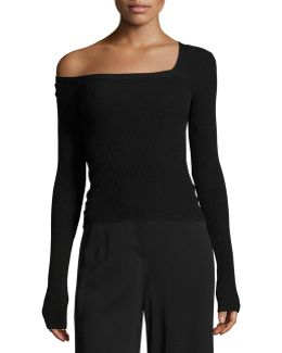 Aria One-shoulder Long-sleeve Sweater
