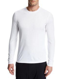 Flat-back Ribbed Long-sleeve Crewneck T-shirt