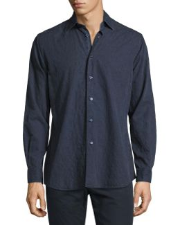 Tonal Paisley Washed Cotton Shirt