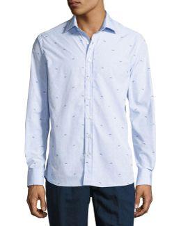 Bird-embroidered Cotton Shirt