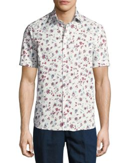 Floral-print Short-sleeve Cotton Shirt