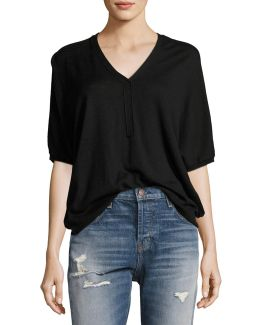 Batwing Henley Sweater Top