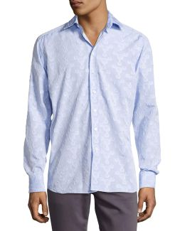 Flocked-circle Cotton Shirt