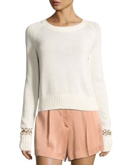 Dree Cotton Pullover Sweater W/ Bracelet Detail