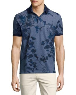 Floral Melange Cotton Polo Shirt