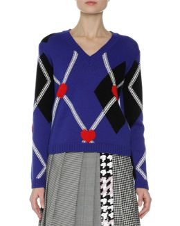 Argyle Long-sleeve V-neck Sweater