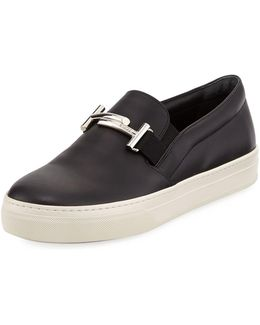 Leather Double-t Bit Strap Slip-on Sneaker