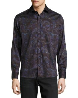 Multi Paisley-print Long-sleeve Sport Shirt