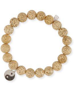 Lotus Seed Beaded Bracelet W/ 14k Diamond Yin Yang Charm