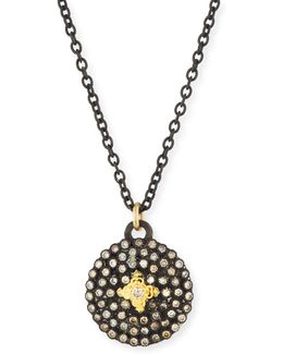 Old World Midnight Small Round Shield Pendant Necklace