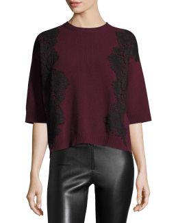 3/4-sleeve Boxy Lace-trim Sweater