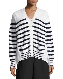 Striped Knit Cardigan Sweater