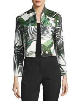 Palm-print Cropped Bomber Jacket