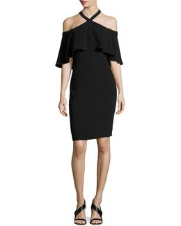 Stretch Crepe Cape Cocktail Dress