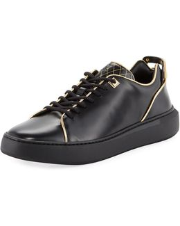 Uno Leather Low-top Sneaker With Golden Edges