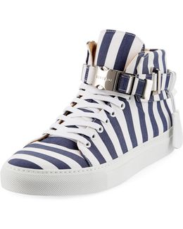Men's 100mm Striped Canvas High-top Sneaker