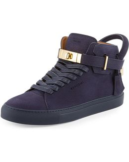 100mm Men's Nubuck Leather High-top Sneaker