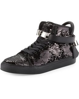Men's 100mm Sequined High-top Sneaker