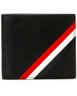 Diagonal-stripe Leather Wallet