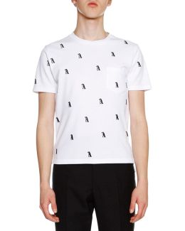 Short-sleeve Penguin-embroidered Tee
