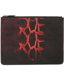 Snake-print Leather Zip-top Pouch