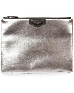 Metallic Leather Pouch Clutch Bag