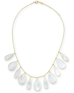 18k Polished Rock Candy Pear Necklace In Mother-of-pearl