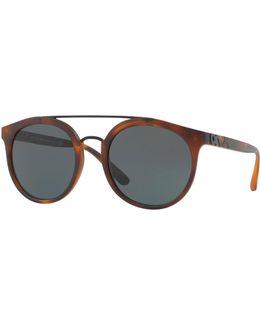 Round Embossed Double-bridge Sunglasses