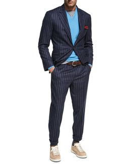 Chalk-stripe Wool Two-piece Suit