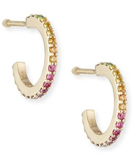 Girls' Rainbow Sapphire Huggie Hoop Earrings