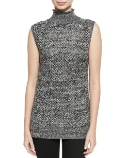 Abbot Sleeveless Basketweave Mock-neck Sweater