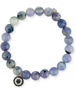 8mm Beaded Iolite Bracelet With Sapphire & Diamond Charm