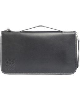 Oversized Zip-around Leather Wallet