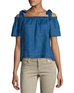 Evonie Short-sleeve Linen Top