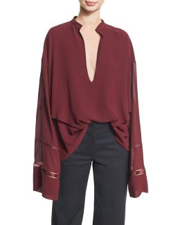 Lace-inset Plunging V-neck Blouse