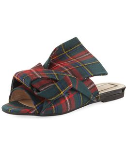 Plaid Wool Flat Mule Sandal
