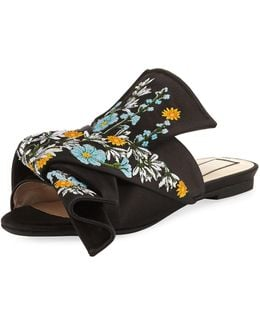 Embroidered Satin Bow Mule Flat