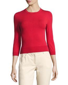 3/4-sleeve Crewneck Sweater