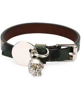 Men's Leather Skeleton Charm Bracelet