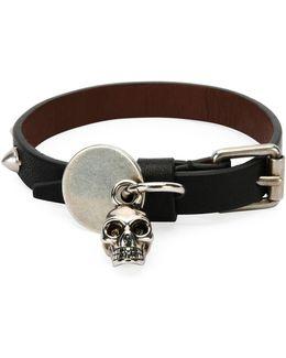 Men's Studded Leather Skeleton Charm Bracelet