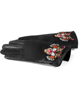 Leather Gloves With Angry Cat