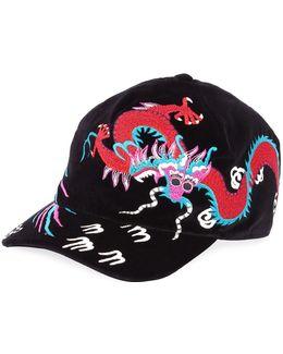 Velvet Dragon-embroidered Baseball Cap