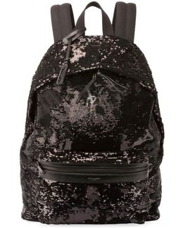 City Sequined Nylon Backpack