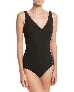 Essence Textured Surplice One-piece Swimsuit