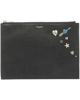 Charm-embellished Leather Zip-top Pouch