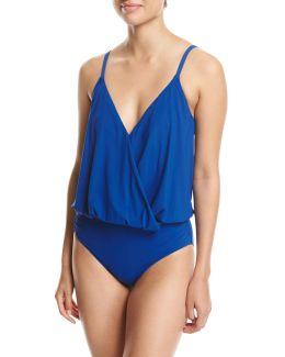 Lattice Surplice Blouson One-piece Swimsuit