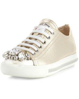 Crystal-embellished Lace-up Sneaker