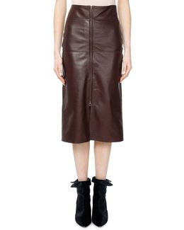 Giny Leather Zip-front Skirt