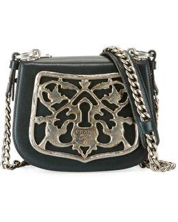 Piastra Metal Filigree Key Lock Crossbody Bag