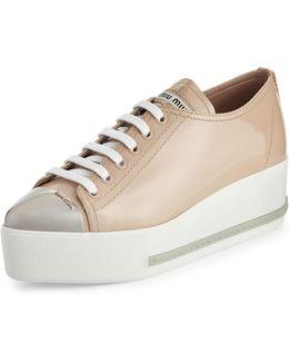 Patent Leather Cap-toe Platform Sneaker
